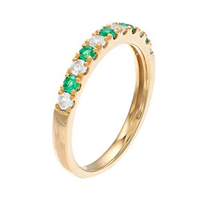 10k Gold Emerald & 1/4 Carat T.W. Diamond Ring