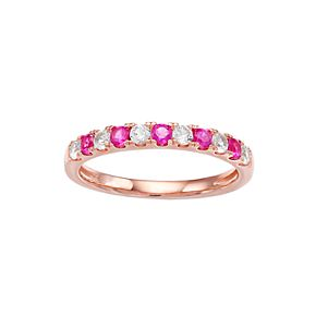 10k Rose Gold Emerald & 1/4 Carat T.W. Diamond Ring