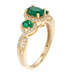 10k Gold Emerald & 1/4 Carat T.W. Diamond Ring