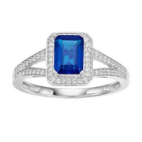 14k White Gold Sapphire & 1/6 Carat T.W. Diamond Square Halo Ring