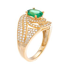 14k Gold Emerald & 3/4 Carat T.W. Diamond Cocktail Ring