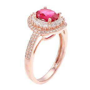 14k Rose Gold Ruby & 1/2 Carat T.W. Diamond Halo Ring