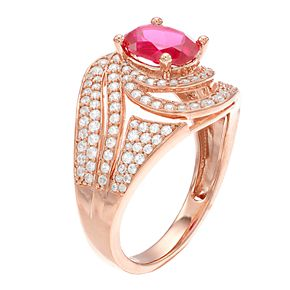 14k Rose Gold Ruby & 3/4 Carat T.W. Diamond Cocktail Ring