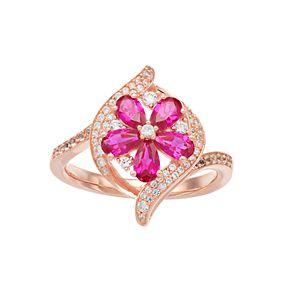 10k Rose Gold Ruby & 1/3 Carat T.W. Diamond Flower Ring