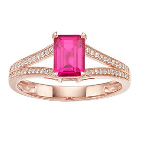 10k Rose Gold Ruby & 1/8 Carat T.W. Diamond Split Shank Ring