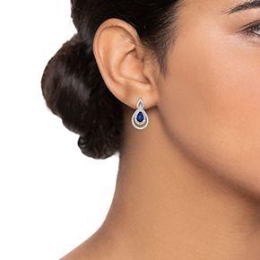10k White Gold Sapphire & 3/8 Carat T.W. Diamond Teardrop Earrings