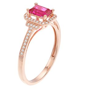 10k Rose Gold Ruby & 1/6 Carat T.W. Diamond Ring