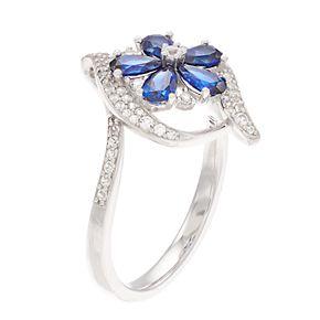 10k White Gold Sapphire & 1/3 Carat T.W. Diamond Flower Ring