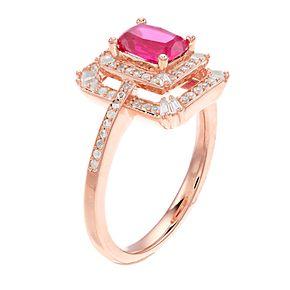 14k Rose Gold Ruby & 1/3 Carat T.W. Diamond Tiered Frame Ring