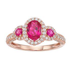 10k Rose Gold Ruby & 1/2 Carat T.W. Diamond 3-Stone Ring