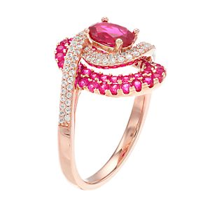 10k Gold Ruby & 1/3 Carat T.W. Diamond Swirl Cocktail Ring