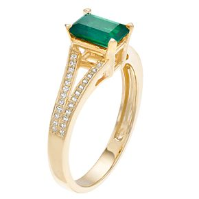 10k Gold Emerald & 1/8 Carat T.W. Diamond Split Shank Ring