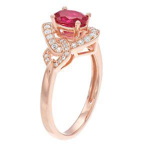 10k Rose Gold Ruby & 1/4 Carat T.W. Diamond Ring