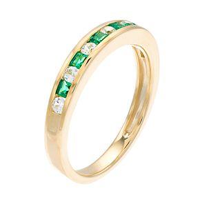 10k Gold Emerald & 1/5 Carat T.W. Diamond Ring