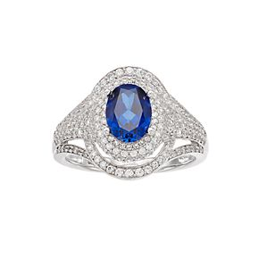 14k White Gold Sapphire & 3/4 Carat T.W. Diamond Cocktail Ring