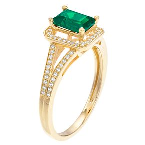 14k Gold Emerald & 1/6 Carat T.W. Diamond Split Shank Ring