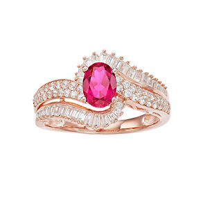 10k Rose Gold Ruby & 1/2 Carat T.W. Diamond Bypass Ring