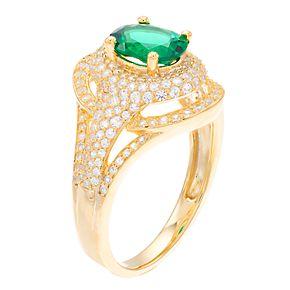 14k Gold Emerald & 3/4 Carat T.W. Diamond Cocktail Ring