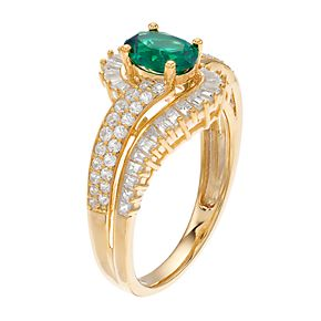 10k Gold Emerald & 1/2 Carat T.W. Diamond Swirl Ring