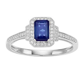 10k White Gold Sapphire & 1/6 Carat T.W. Diamond Halo Ring