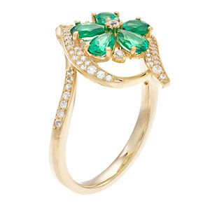 10k Gold Emerald & 1/3 Carat T.W. Diamond Flower Ring