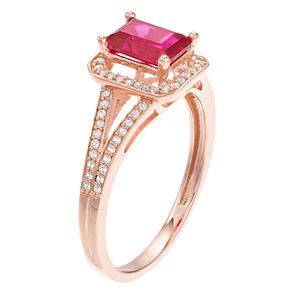 14k Rose Gold Ruby & 1/6 Carat T.W. Diamond Split Shank Ring