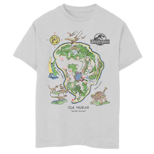 Boys 8-20 Jurassic World Isla Nublar Map Tee