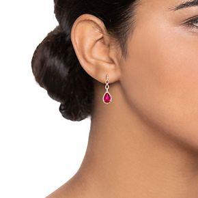 10k Rose Gold Ruby & 1/3 Carat T.W. Diamond Teardrop Earrings