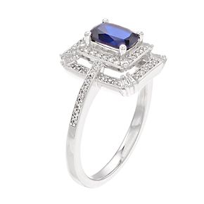 14k White Gold Sapphire & 1/3 Carat T.W. Diamond Tiered Frame Ring