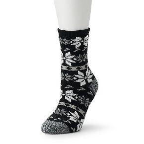 Women's Cuddl Duds Large Multi Snowflake Printed Socks