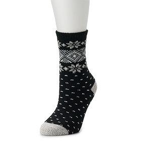 Women's Cuddl Duds Snowflake Geo Shape Socks