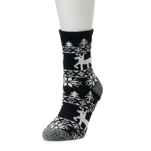 Women's Cuddl Duds Reindeer Fairisle Socks
