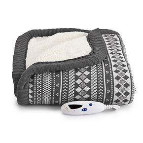 Biddeford Fair Isle Electric Heated Sweater Knit Sherpa Throw