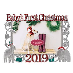 """St. Nicholas Square® """"Baby's First Christmas, 2019"""" Holiday Frame"""