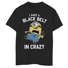 Boys 8-20 Minions Black Belt In Crazy Tee