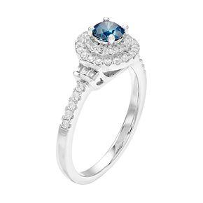 Lovemark 10k White Gold 3/4 Carat T.W. Blue & White Diamond Halo Ring
