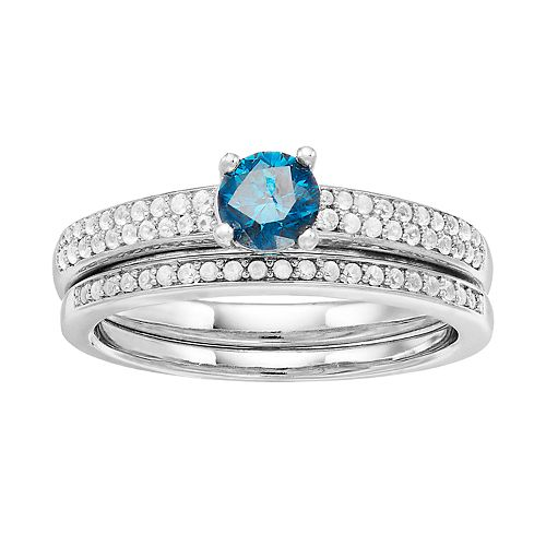 Lovemark 10k White Gold 3/4 Carat T.W. Blue & White Diamond Ring