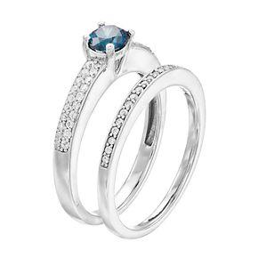 Lovemark 10k White Gold 3/4 Carat T.W. Blue & White Diamond Ring