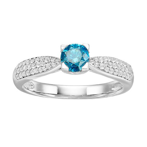 Lovemark 10k White Gold 3/4 Carat T.W. Blue & White Diamond Engagement Ring