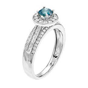Lovemark 10k White Gold 1 Carat T.W. Blue & White Diamond Ring
