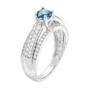 Lovemark 10k White Gold 1 Carat T.W. Blue & White Diamond Ring