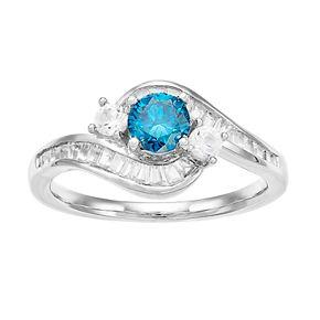 Lovemark 10k White Gold 1 Carat T.W. Blue & White Diamond Bypass Ring