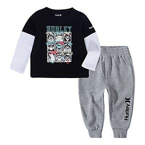 Toddler Boys 2T-4T Hurley Double Layer Tee and Jogger Pants 2-Piece Set