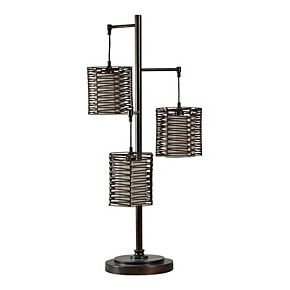 Unbranded Contemporary Bronze Finish and Rattan Table Lamp