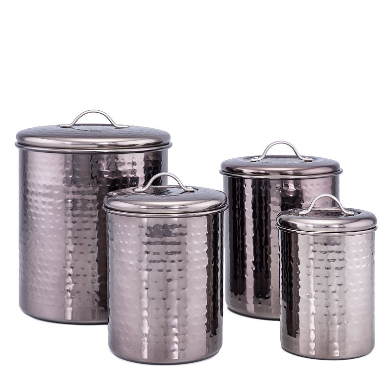 Old Dutch 4-pc. Black Pearl Hammered Canisters