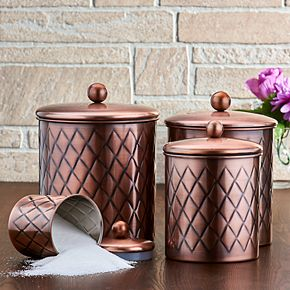 Old Dutch 4-pc. Antique Copper Diamond Canisters