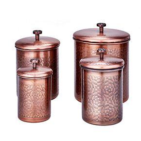 Old Dutch 4-pc. Antique Copper Geometric Canisters