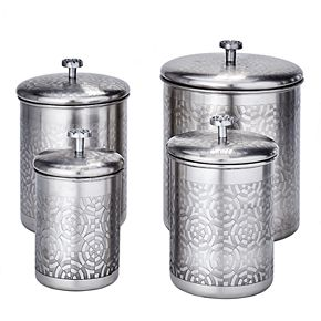 Old Dutch 4-pc. Brushed Nickel Geometric Canister Set