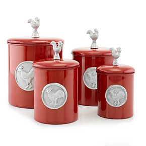Old Dutch 4-pc. Red Rooster Canister Set