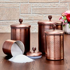 Old Dutch 4-pc. Antique Copper Floral Canisters